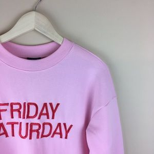 Sweaters - NWT slouchy distressed pink graphic sweater Small